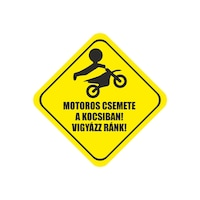 Klebis, Motoros csemete a kocsiban! Vigyázz ránk!, autómatrica (20×20 cm)