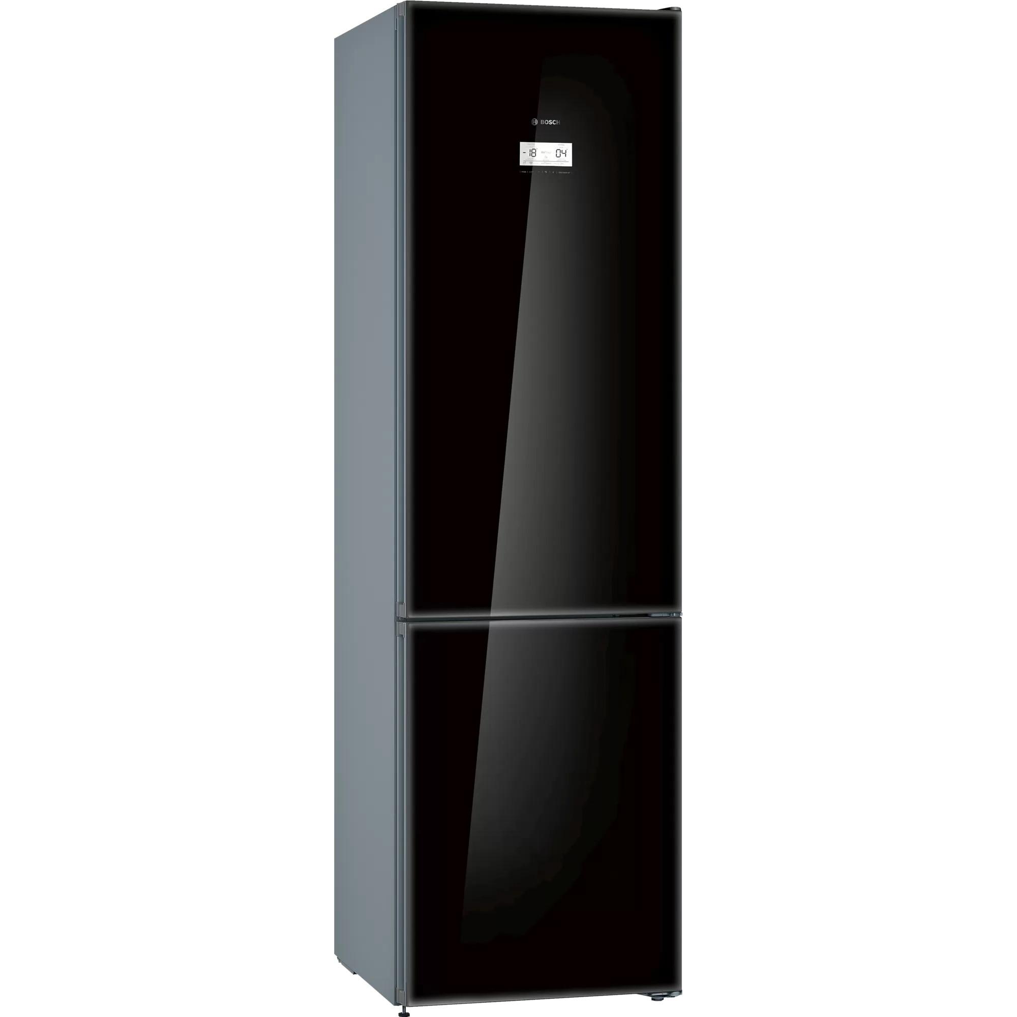 Fotografie Combina frigorifica Bosch KGN39LBE5, 368 l, Clasa E, NoFrost, VitaFresh, H 203 cm, Sticla neagra
