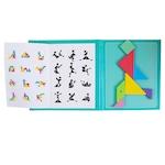 Joc educativ Tangram puzzle din lemn cu plansa magnetica, Montessori, +3 ani, multicolor
