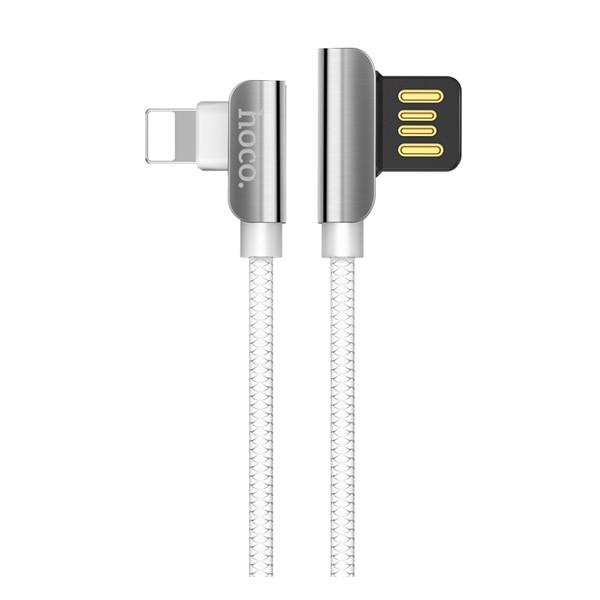 HOCO U42 kábel (lightning 8 pin, 120 cm, 90 fokos, gyorstöltés támogatás, cipőfűző minta), Fehér ojwnN9