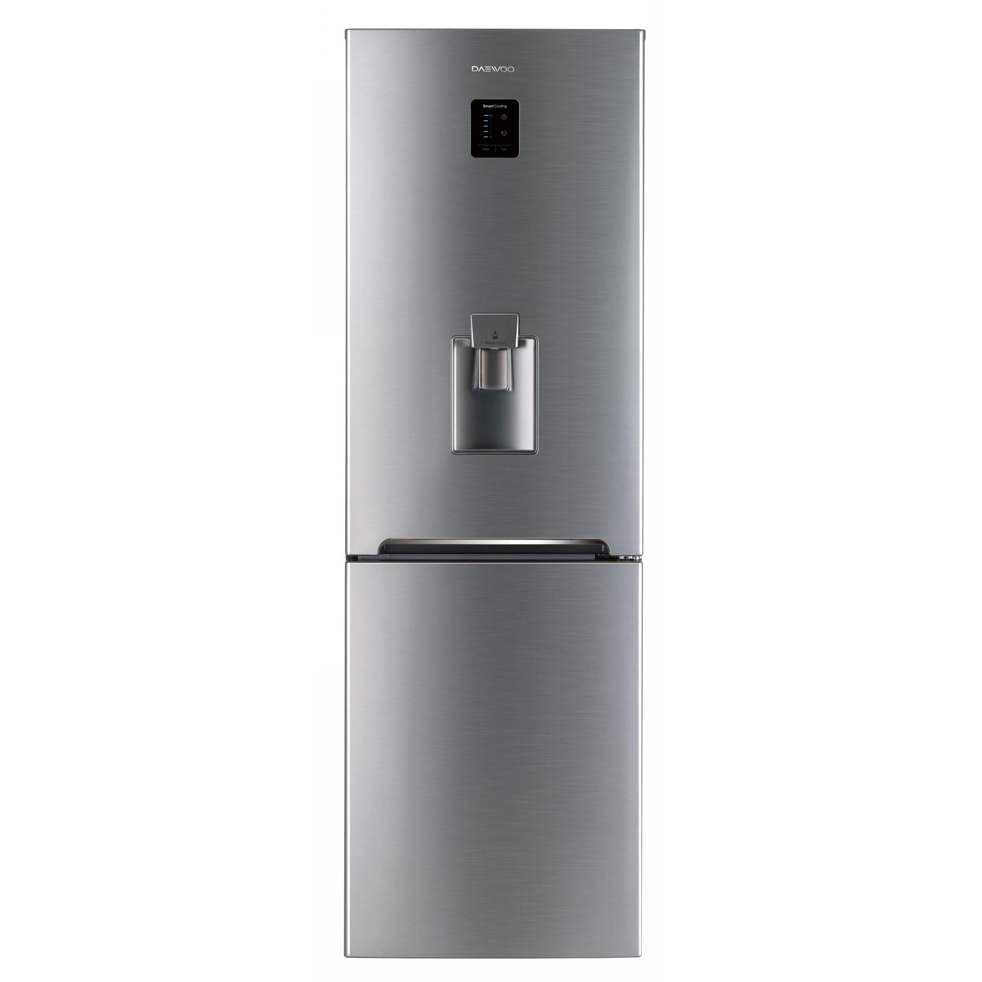 Fotografie Combina frigorifica Daewoo RN-307RDQM, 305 l, Clasa A+, No Frost, Display, Dispenser apa, H 187 cm, Silver