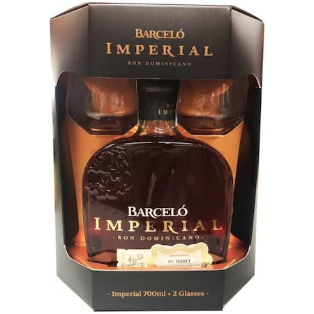Rom BARCELO IMPERIAL + 2 PAHARE, 38%, 0.7L