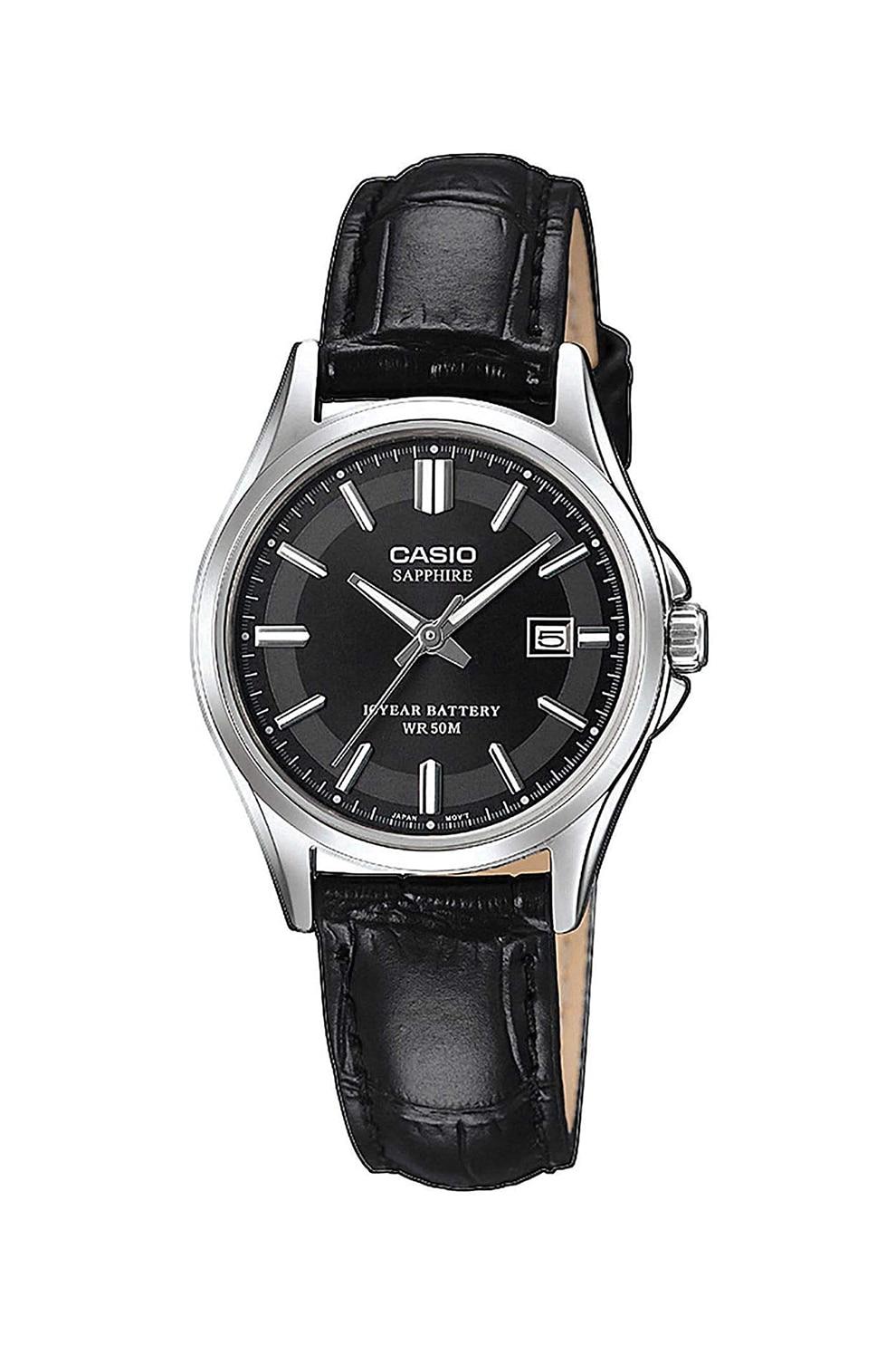 Fotografie Casio, Ceas din otel inoxidabil cu o curea de piele, Negru/Argintiu