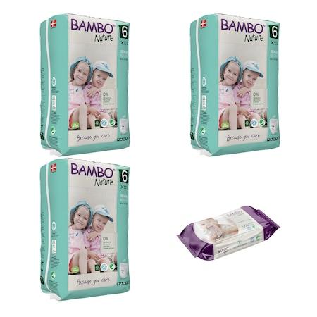Set 3 pachete Chilotei Ecologici Bambo Nature Nr. 6 (18+ kg), 54 bucati si servetele umede Bambo Nature, 80 buc