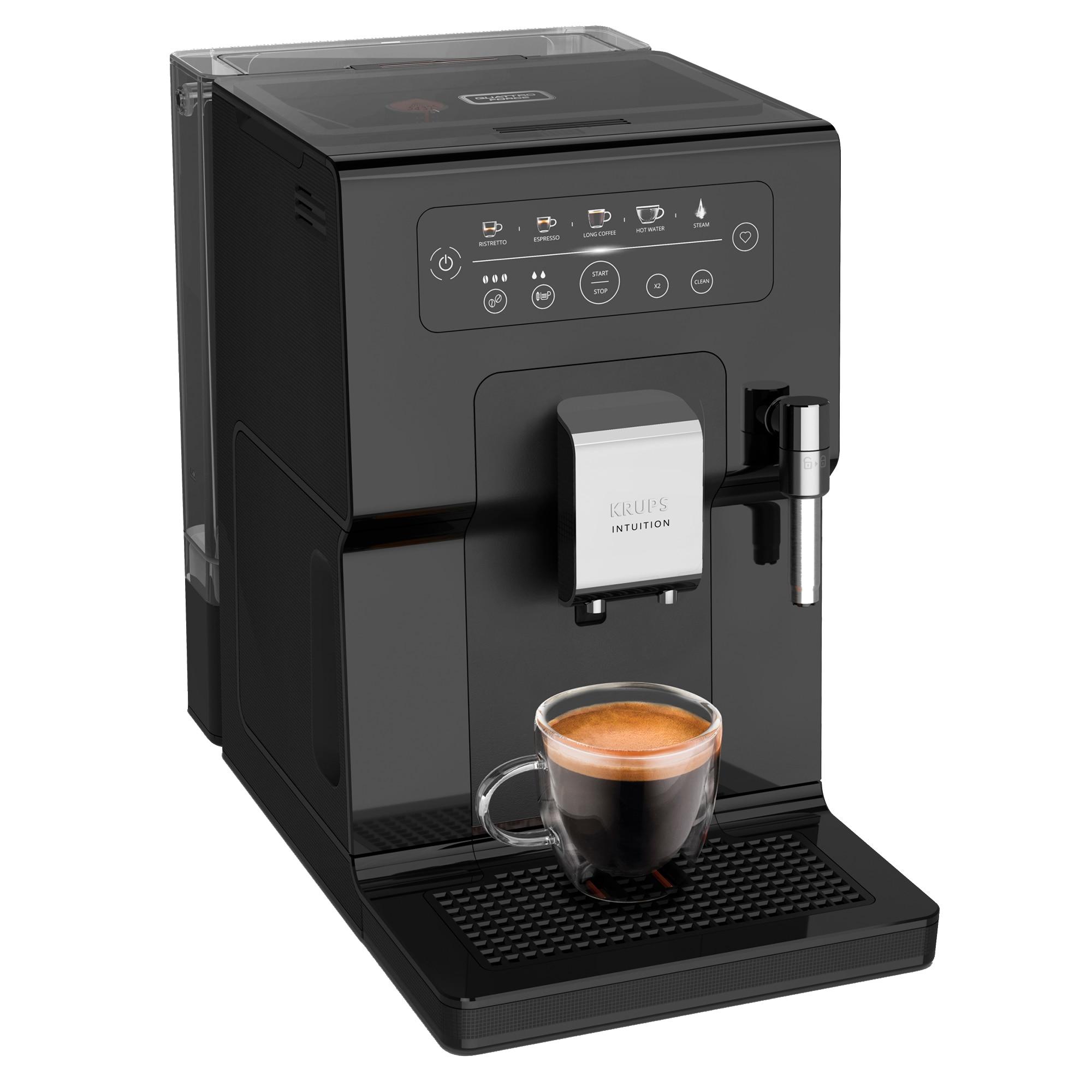 Fotografie Espressor automat KRUPS Intuition EA870810, 15 bari, indicatori luminosi, tehnologie Quattro Force, 3 pre-setari intensitate, functie spumare lapte, functie memorare favorite, negru