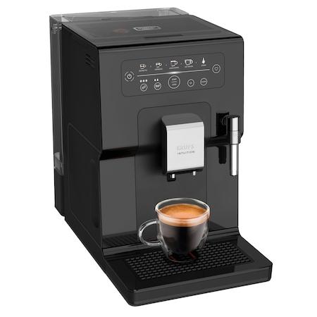 Espressor automat KRUPS Intuition EA870810, 15 bari, indicatori luminosi, tehnologie Quattro Force, 3 pre-setari intensitate, functie spumare lapte, functie memorare favorite, negru
