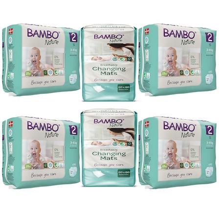Pachet scutece ecologice pentru copii Bambo Nature, Nr. 2 (3-6 kg), 120 bucati si Aleze/Protectii absorbante ecologice pentru pat Bambo Nature, 60x60cm, 20 bucati