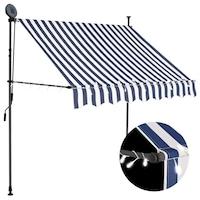 Ръчно прибиращ се сенник с LED vidaXL, водоустойчив полиестер, 200 см, синьо и бяло