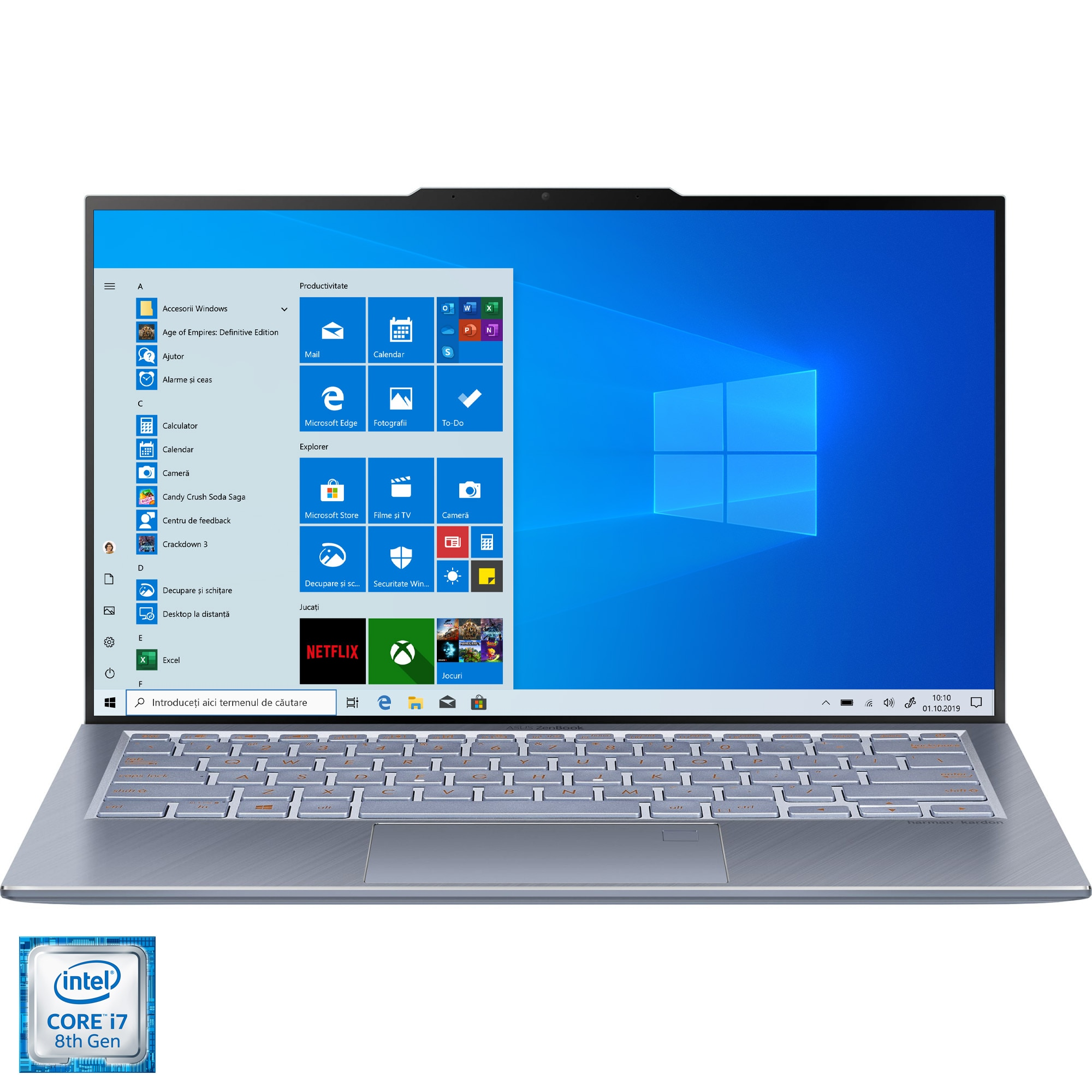 "Fotografie Laptop ultraportabil ASUS ZenBook 13 cu procesor Intel® Core™ i7-8565U pana la 4.60 GHz, 13.9"" Full HD, 16GB, 1TB SSD, Intel® UHD Graphics 620, Windows 10 Pro, Utopia Blue"