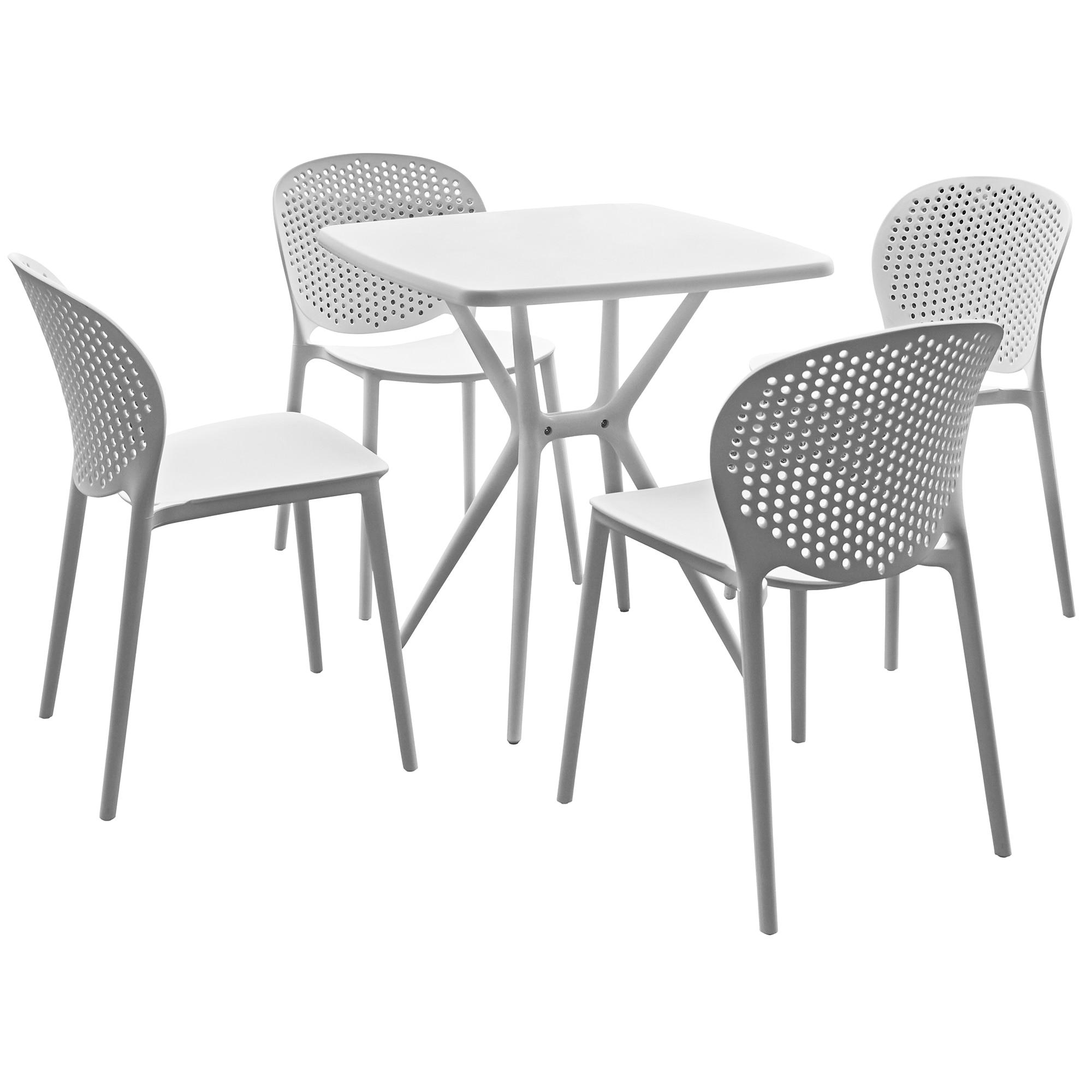 Fotografie Set mobilier gradina/ terasa IDEA, masa + 4 scaune Hugo ALB