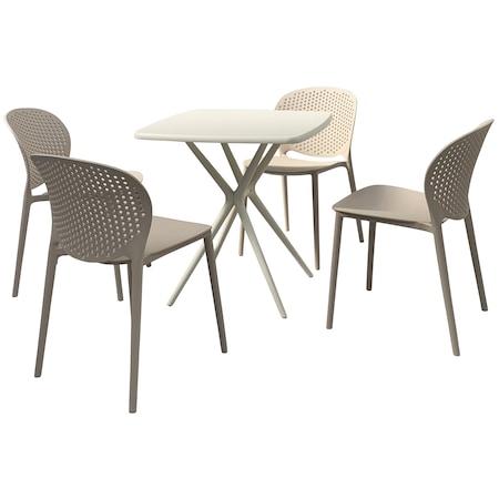IDEA Kerti bútor szett, asztal + 4 szék, Krém