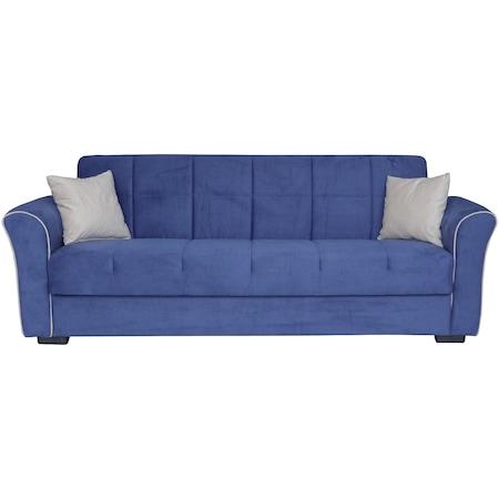 Разтегателен диван Modella Jade 235x80x85 см, Цвят син, Бежов шев