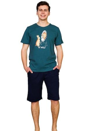 Pijama Barbati, Gazzaz by Vienetta, Model 'Be Wild', Culoare Verde