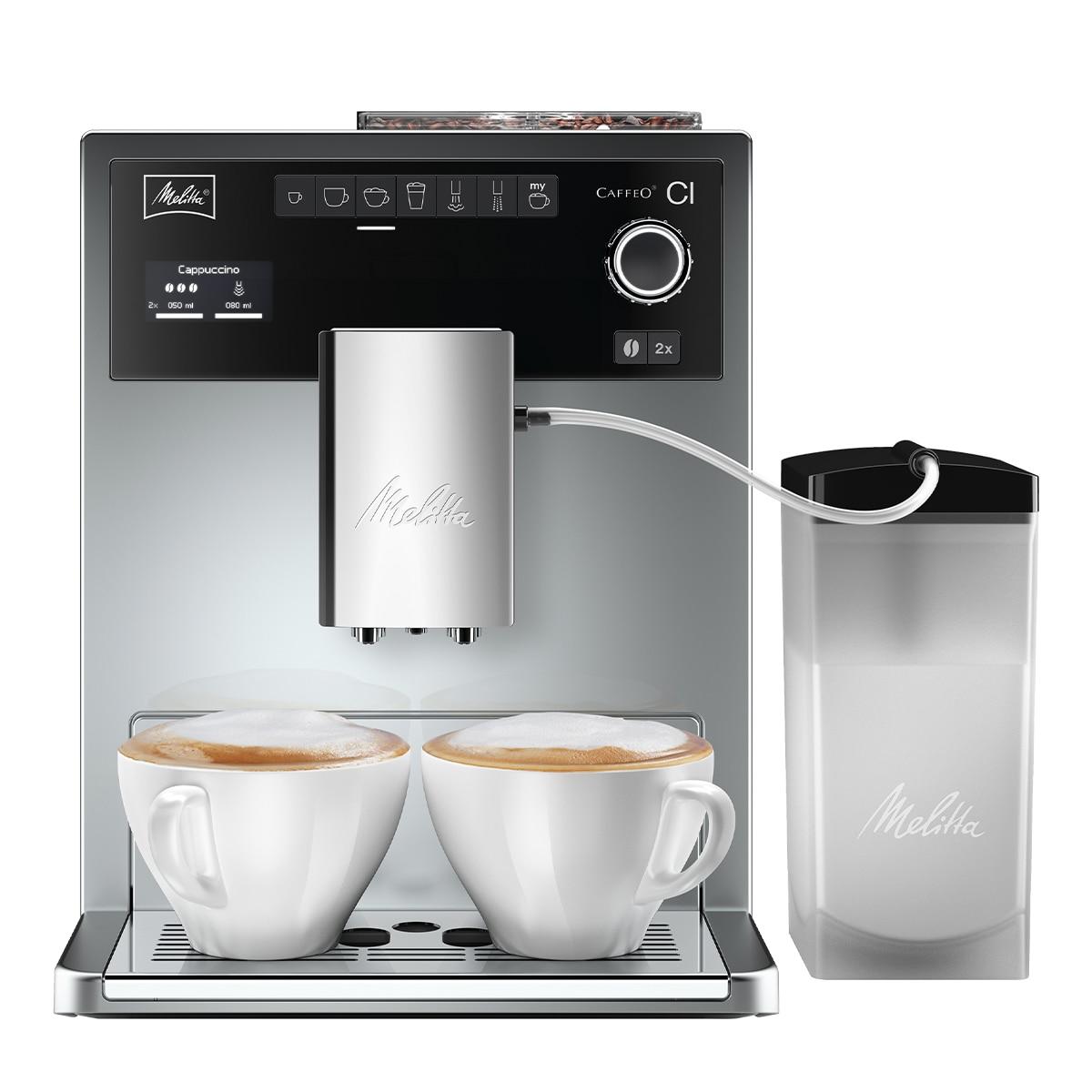 Fotografie Espressor Automat Melitta®Caffeo CI, Recipient de boabe cu 2 compartimente, 3 niveluri de granulație, Easy Steam Cleaning, Gri