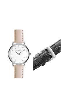 Annie Rosewood, Аналогов часовник с допълнителна каишка, Сребрист, сив, праскова