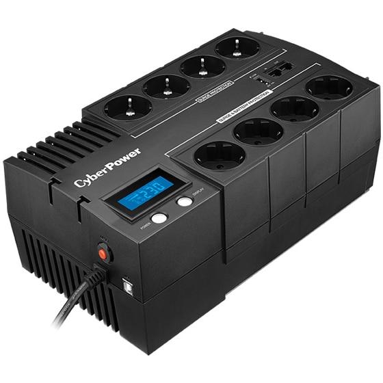 Fotografie UPS CyberPower BR1000ELCD, 1000VA, 600W, Display LCD, Schuko, USB, RJ11, RJ45, Line-interactive