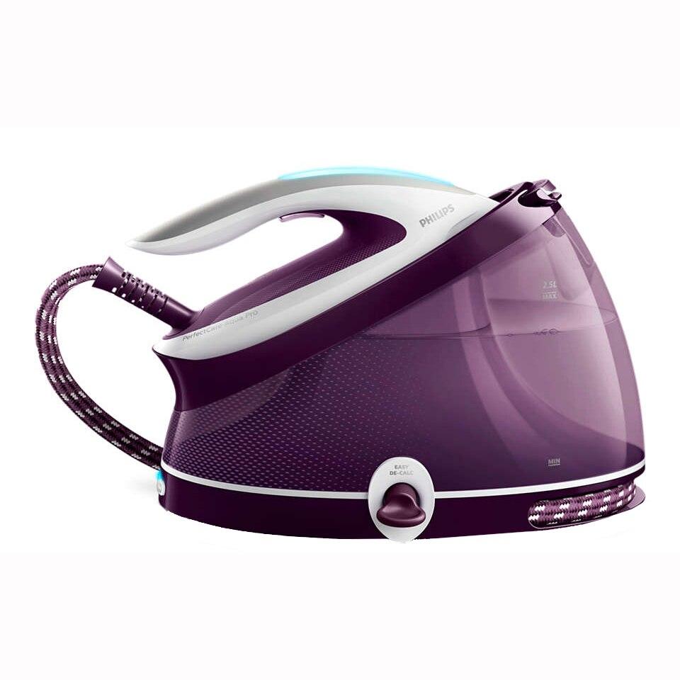 Fotografie Statie de calcat Philips PerfectCare Aqua Pro GC9315/30, Optimal Temp, talpa T-ionicGlide, 120 g/min, 420 g abur, 6.5 bari, rezervor 2500 ml, Easy De-Calc, Violet