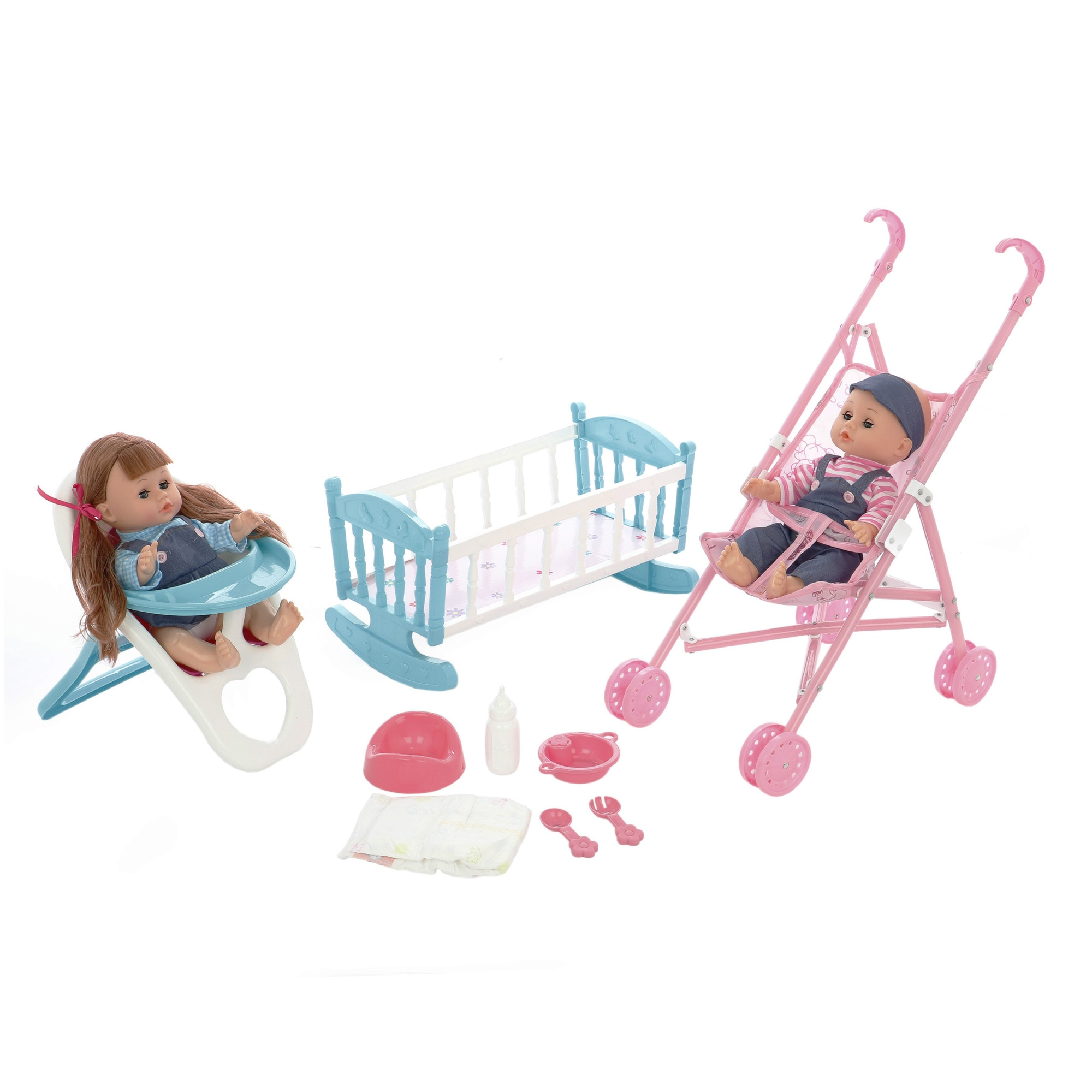 Fotografie Set M-Toys 2 papusi 35.5 cm, cu scaun de masa, carucior, patut si accesorii