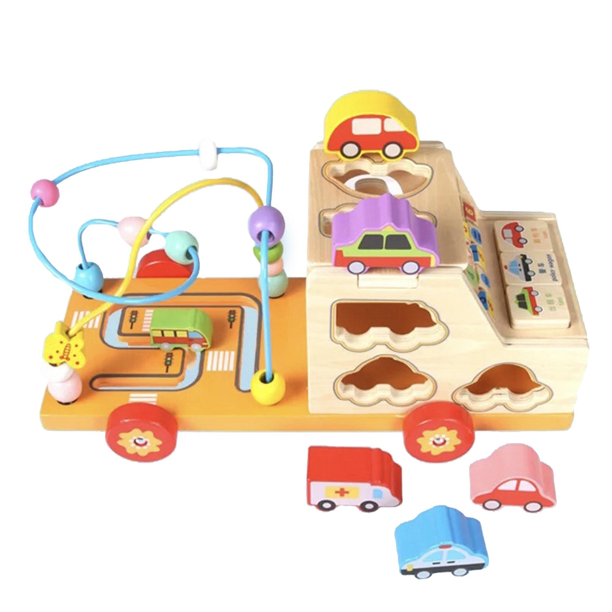Fotografie Jucarie educativa M-Toys Camionul multifunctional, din lemn