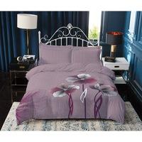 7Mall - SENDIA® Nagy virágmintás pamut 3 részes ágyneműhuzat - rózsaszín