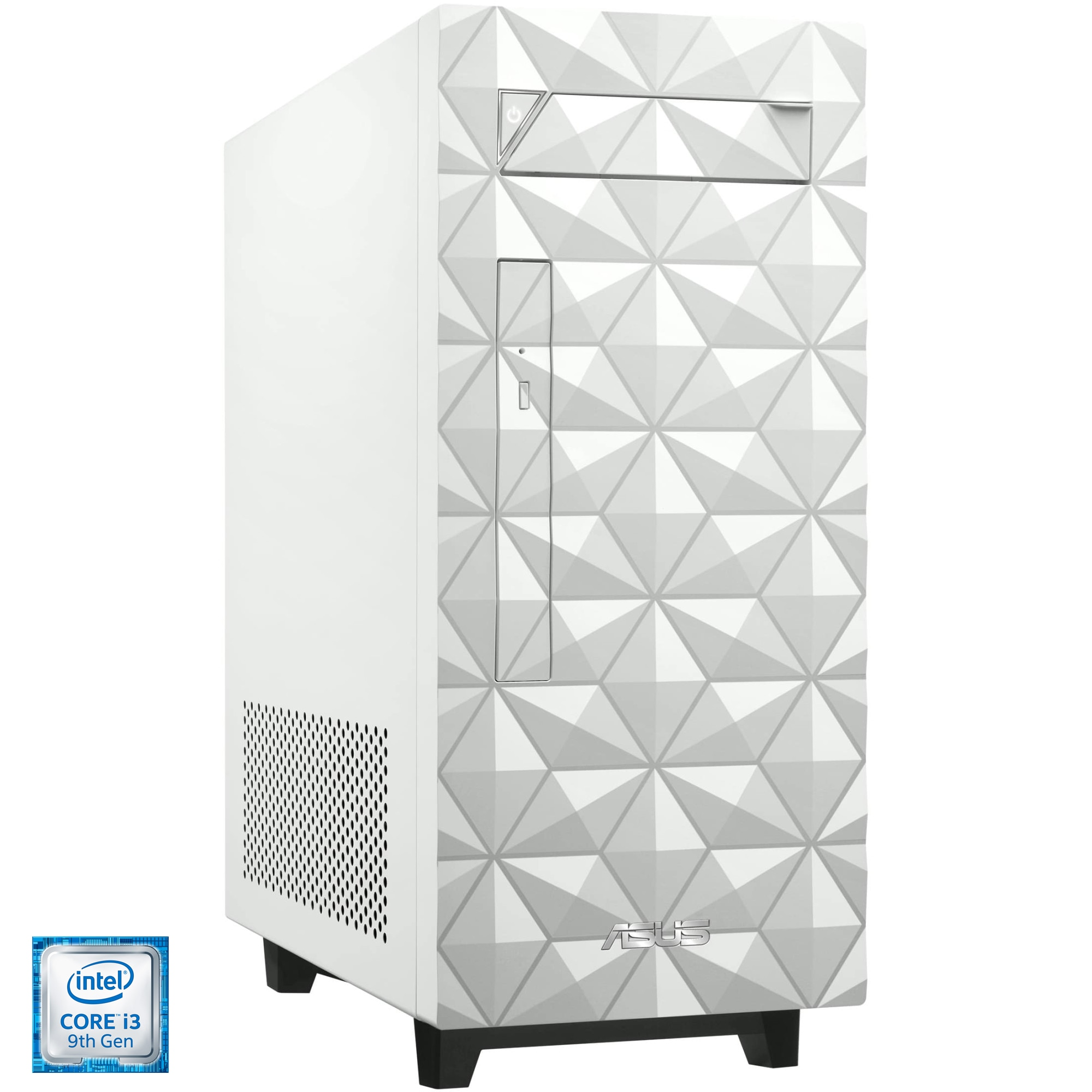 Fotografie Sistem Desktop PC ASUS S340MF cu procesor Intel® Core™ i3-9100F pana la 4.20 GHz, Coffee Lake, 8GB DDR4, 256GB SSD M.2 NVMe™, Wi-Fi, DVD-RW, NVIDIA® GeForce® GT1030 2GB, Free DOS, White, Mouse + Tastatura