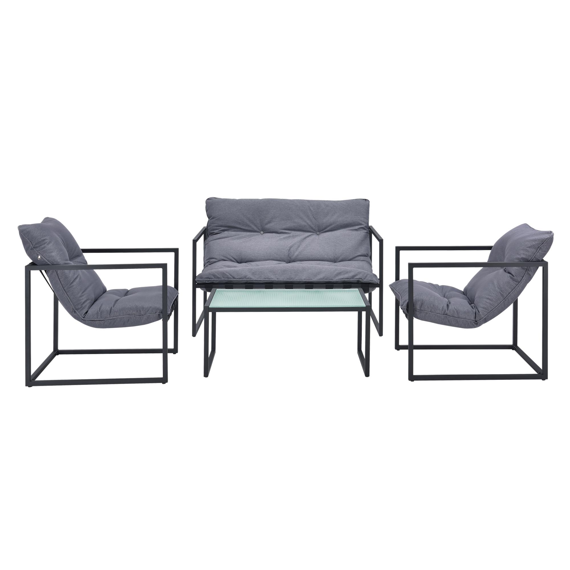 Kerti bútor szett 4 részes kertibútor garnitúra kültéri bútor garnitúra fotel pad dohányzóasztal feketeszürke [casa.pro]® eMAG.hu