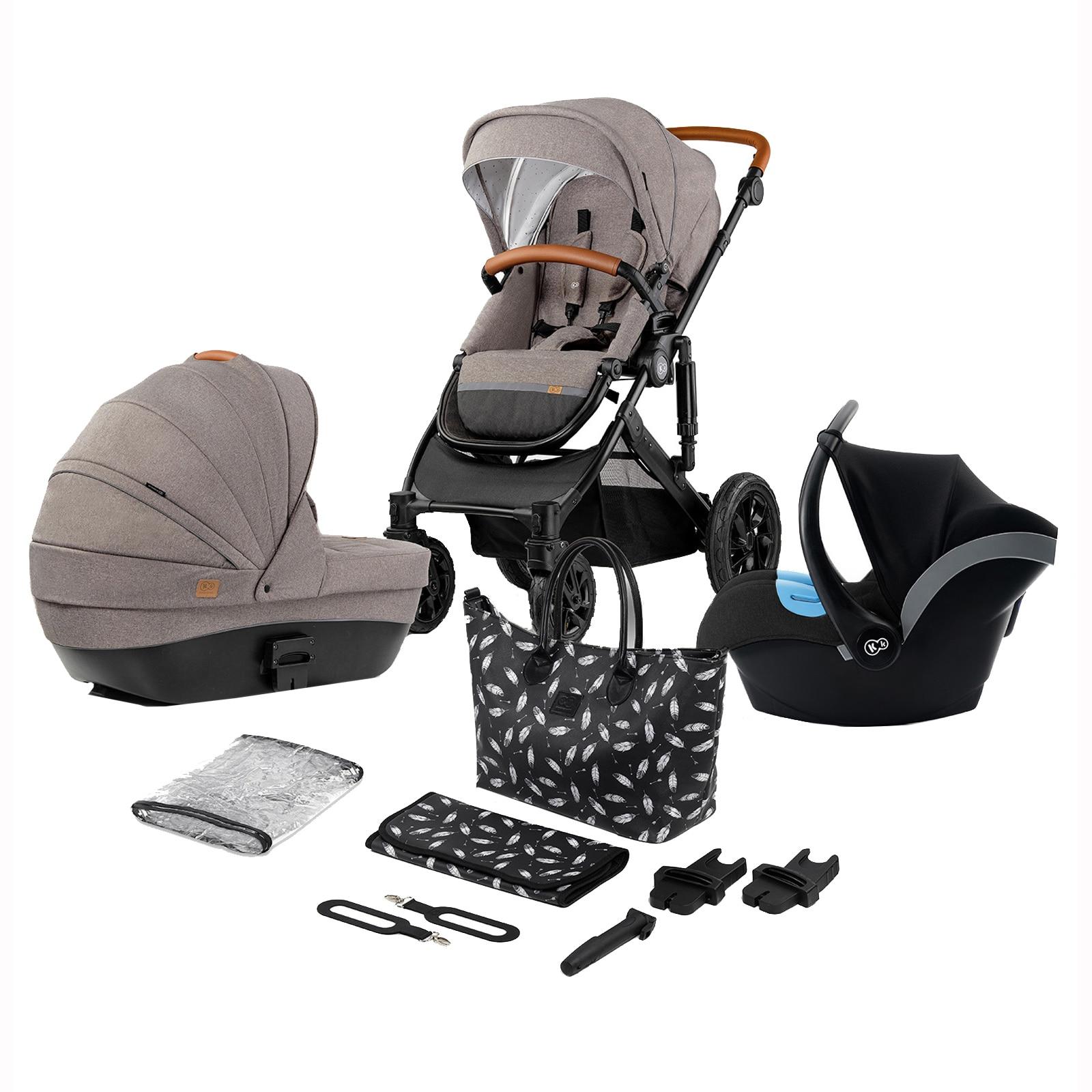 Fotografie Carucior Kinderkraft 3 in 1 Prime 2020 cu cos auto, accesorii si geanta, Bej