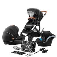 Kinderkraft 3 in 1 Prime 2020 Babakocsi autósüléssel, kiegészítőkkel és táskával, Fekete