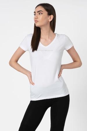 Emporio Armani Underwear, Tricou de casa cu decolteu in V, Alb prafuit, S