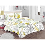 Спален комплект Kring Nature, 100% памук, 132TC, Бял/Сив/Жълт