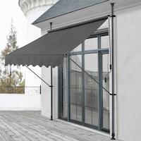 Тента [pro.tec]® регулируем сенник за балкон, Сива, 250 x 120 x 200-300 cm, Стомана/Полиестер