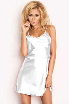 Női szatén hálóing classic fehér,XL
