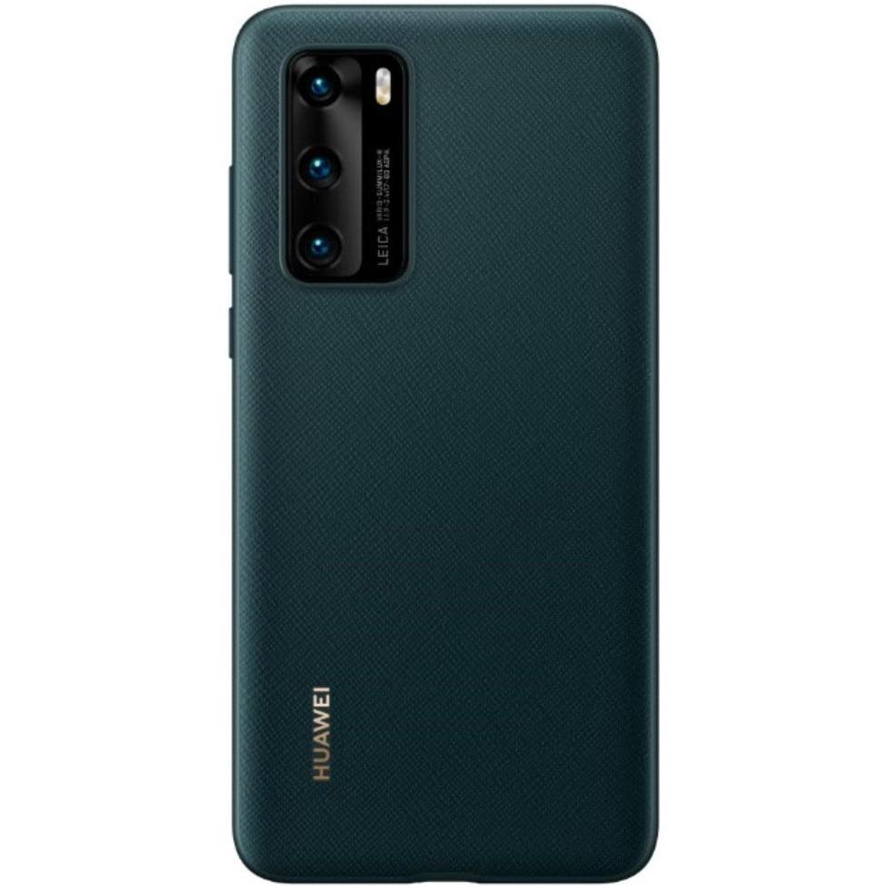 Fotografie Husa de protectie Huawei PU pentru P40, Ink Green