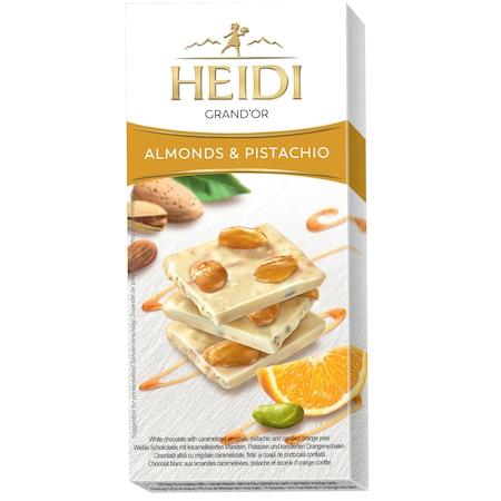 Ciocolata alba Heidi Grand'Or cu migdale caramelizate, fistic si portocala 100 gr.