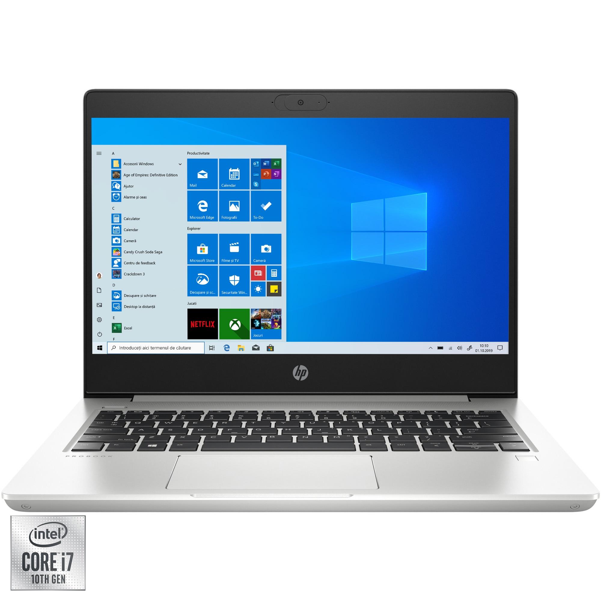 "Fotografie Laptop ultraportabil HP ProBook 430 G7 cu procesor Intel Core i7-10510U pana la 4.90 GHz, 13.3"", Full HD, 16GB, 512GB SSD, Intel UHD Graphics, Windows 10 Pro, Silver"