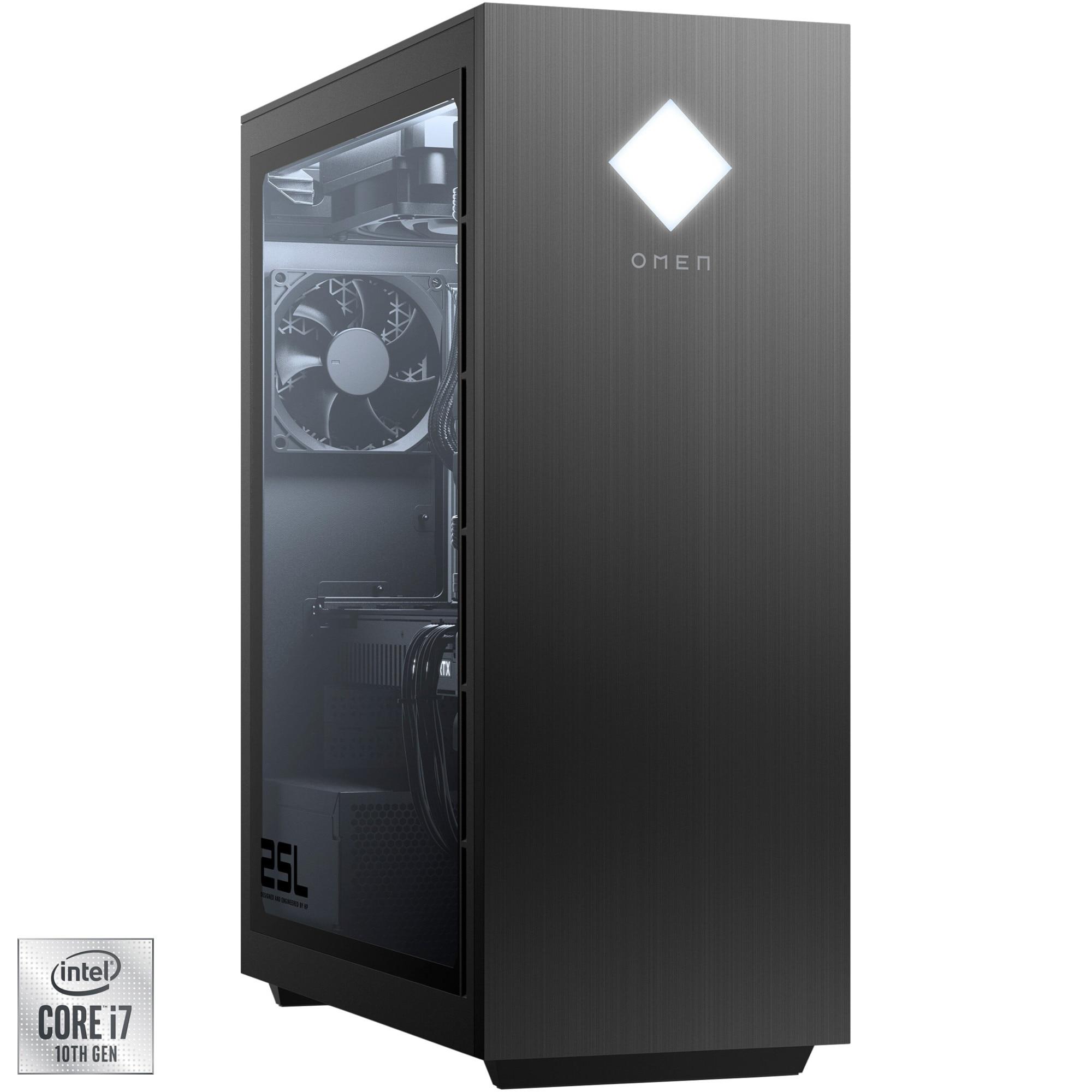 Fotografie Sistem Gaming PC OMEN by HP GT12-0031nq cu procesor Intel® Core™ i7-10700F pana la 4.80 GHz, Comet Lake, 16GB DDR4, 1TB HDD + 256GB SSD NVMe, GeForce® GTX 1660 Super™ 6GB GDDR6, Free DOS