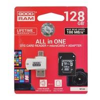 GOODRAM All In One memóriakártya TransFlash 128GB (microSDHC EVO - Class 10, UHS-1) + SD adapter + USB kártyaolvasó