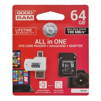 GOODRAM All In One memóriakártya TransFlash 64GB (microSDHC EVO - Class 10, UHS-1) + SD adapter + USB kártyaolvasó