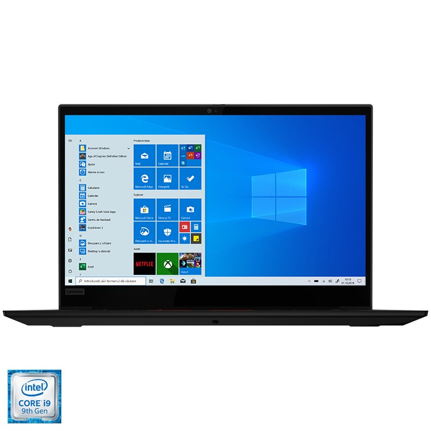 "Fotografie Laptop Lenovo Thinkpad X1 Extreme Gen2 cu procesor Intel Core i9-9880H pana la 4.80 GHz, 15.6"""", UHD, Touch, 32GB, 1TB SSD, NVIDIA GeForce GTX1650 Max-Q 4GB, Windows 10 Pro, Black"