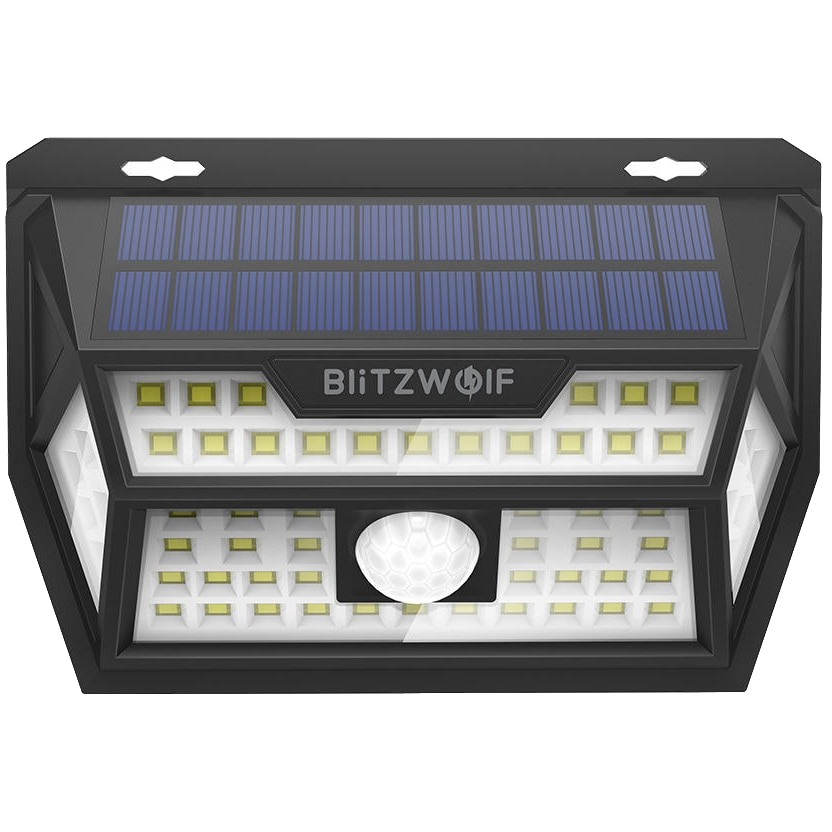 Fotografie Lampa solara LED de exterior pentru perete BlitzWolf BW-OLT1, cu senzor lumina si miscare, 350 lm, 6500K, acumulator 3.7V, 2200 mAh, IP64