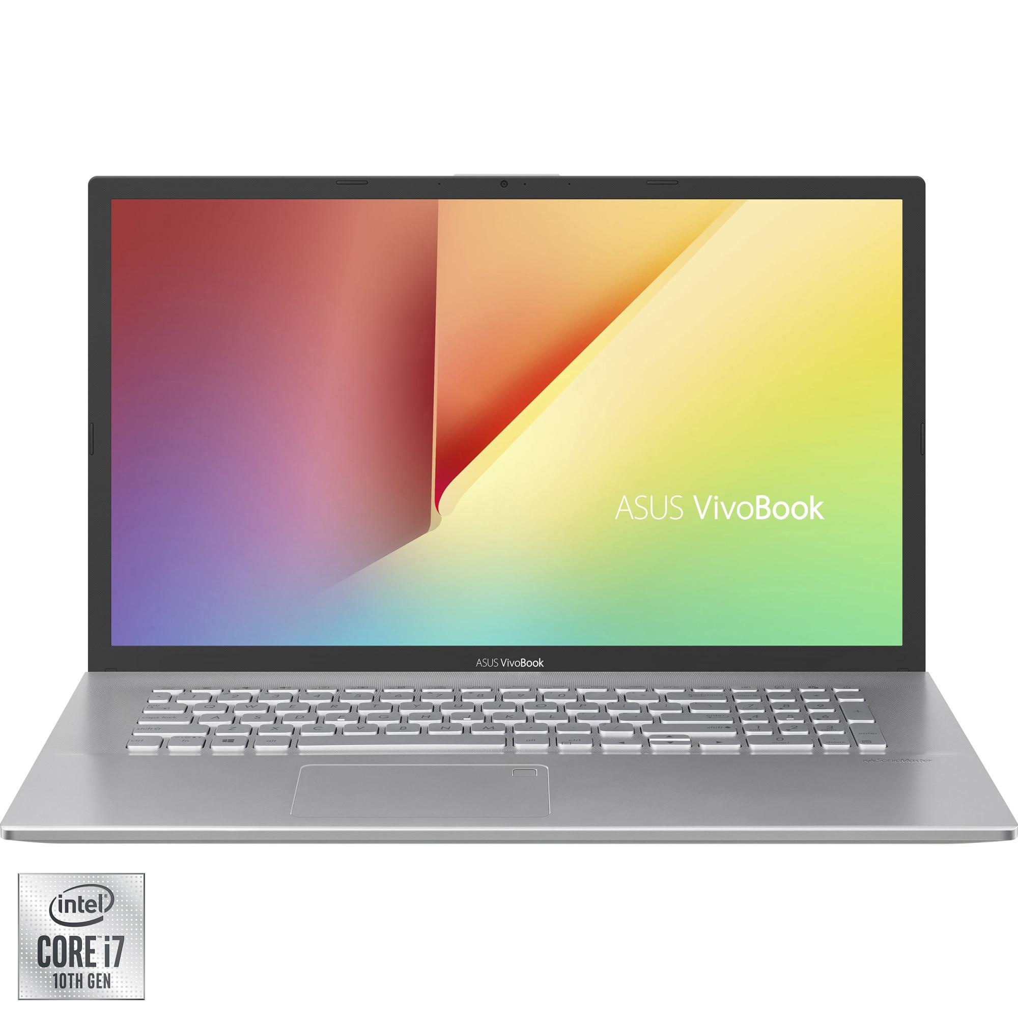 "Fotografie Laptop ASUS VivoBook 17 X712FB cu procesor Intel® Core™ i7-10510U pana la 4.90 GHz Comet Lake, 17.3"", Full HD, 8GB, 512GB SSD, NVIDIA® GeForce® MX110, Free DOS, Transparent Silver"