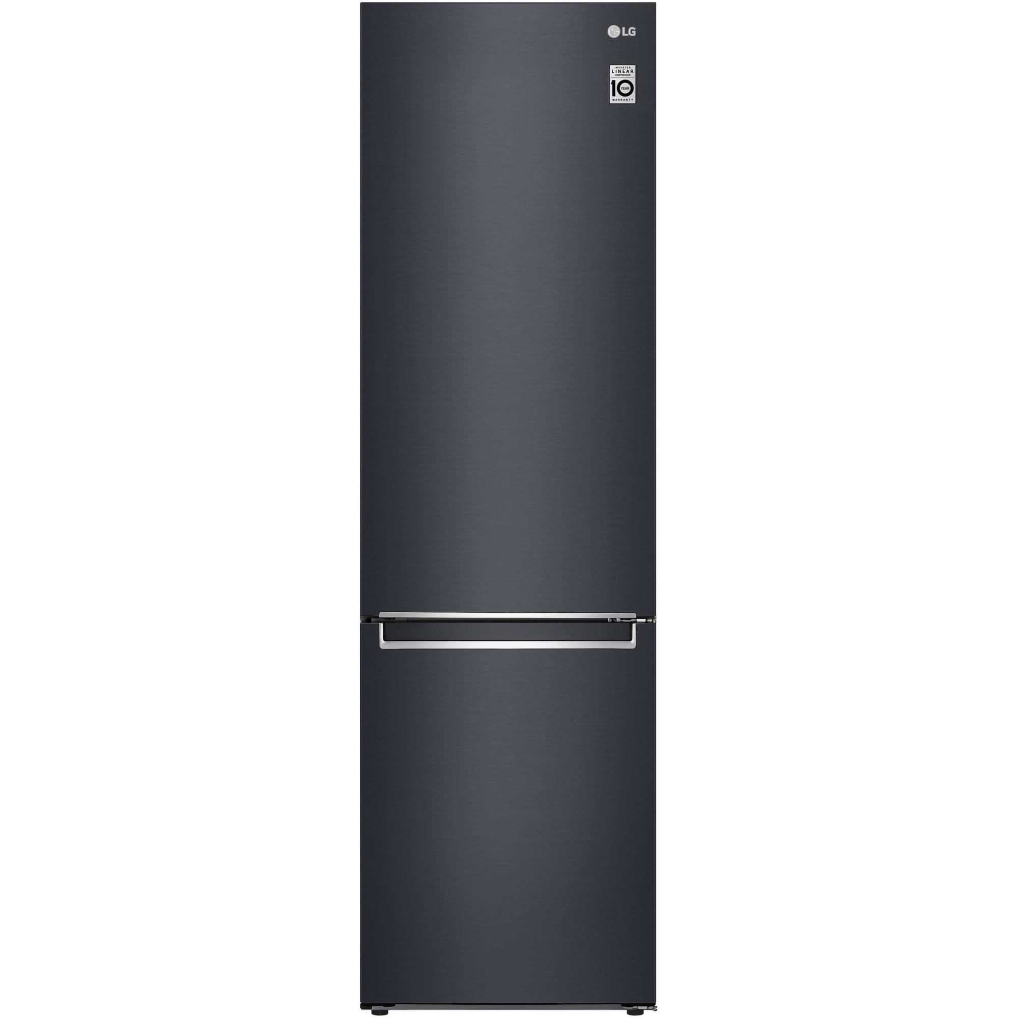 Fotografie Combina frigorifica LG GBB72MCVFN, 384 l, Clasa D, No Frost, Compresor Liniar Inverter, NatureFresh, DoorCooling, Afisaj LED, H 203 cm, Negru