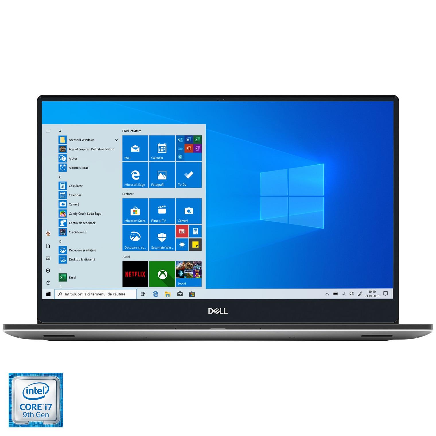 "Fotografie Laptop Dell XPS 15 7590 cu procesor ,Intel Core i7-9750H pana la 4.50 GHz, 15.6"", 4K UHD, 32GB, 1TB SSD, NVIDIA GeForce GTX 1650 4GB, Windows 10 Pro, Silver"