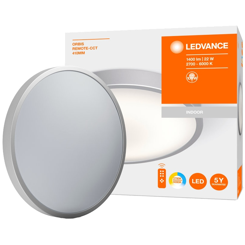 Fotografie Plafoniera LED cu telecomanda Ledvance Orbis, 22W, 1400 lm, A+, temperatura lumina reglabila (2700K/4000K/6000K), IP20, 410 mm, Aluminiu, Alb