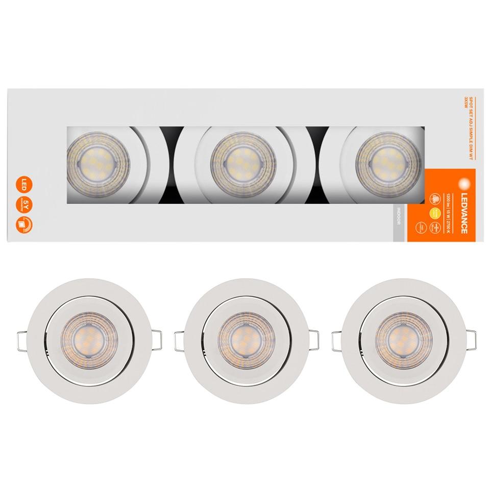 Fotografie Set 3 spoturi LED Ledvance, dimabile, 3X5W, 3x400 lm, driver alimentare inlcus, ajustabil, lumina calda (2700K), Aluminiu, Alb