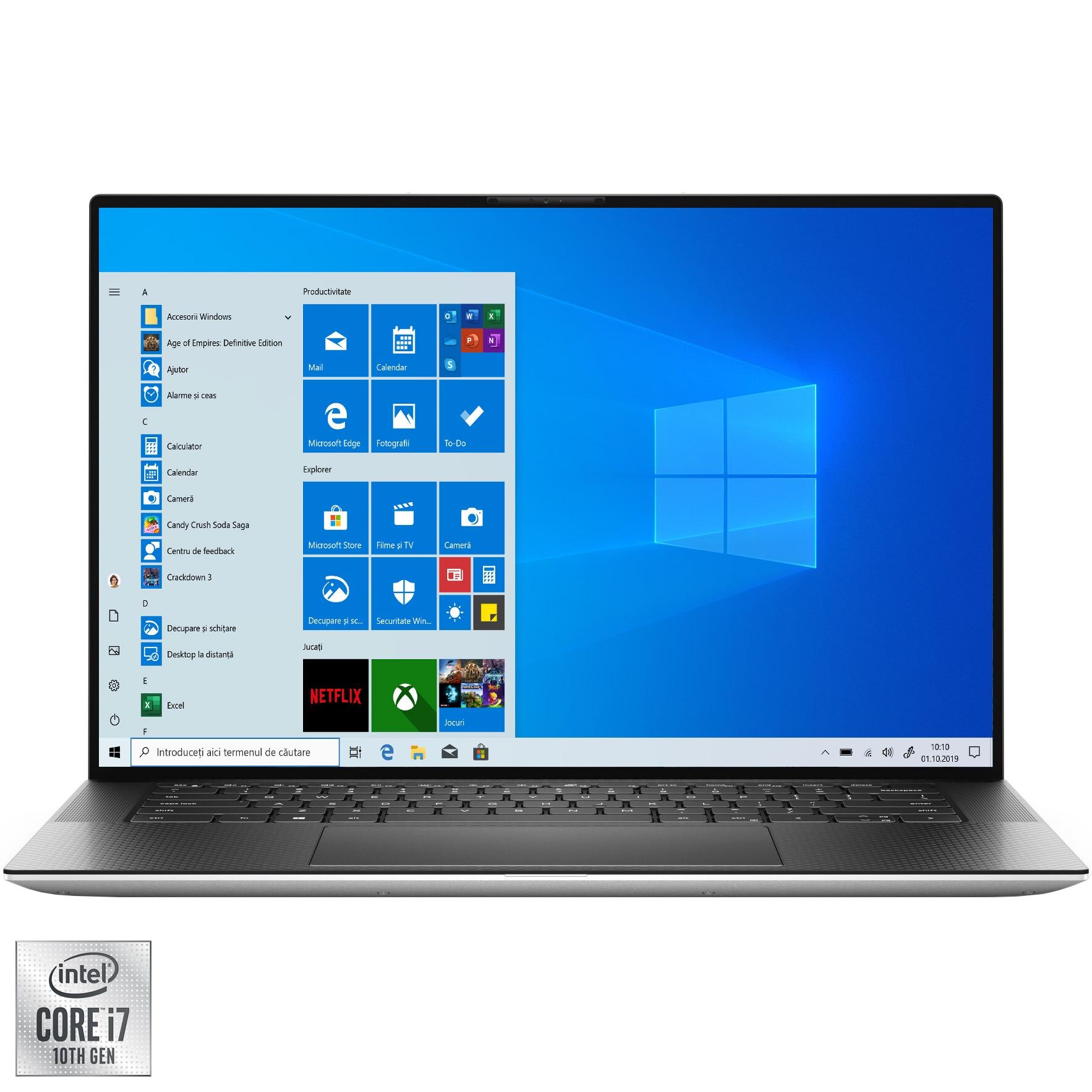 "Fotografie Laptop Dell XPS 9500 cu procesor Intel Core i7-10750H pana la 5.00 GHz, 15.6"", UHD +, Touch, 32GB, 1TB SSD, NVIDIA GeForce GTX 1650 Ti Max Q 4GB, Windows 10 Pro, Platinum Silver"