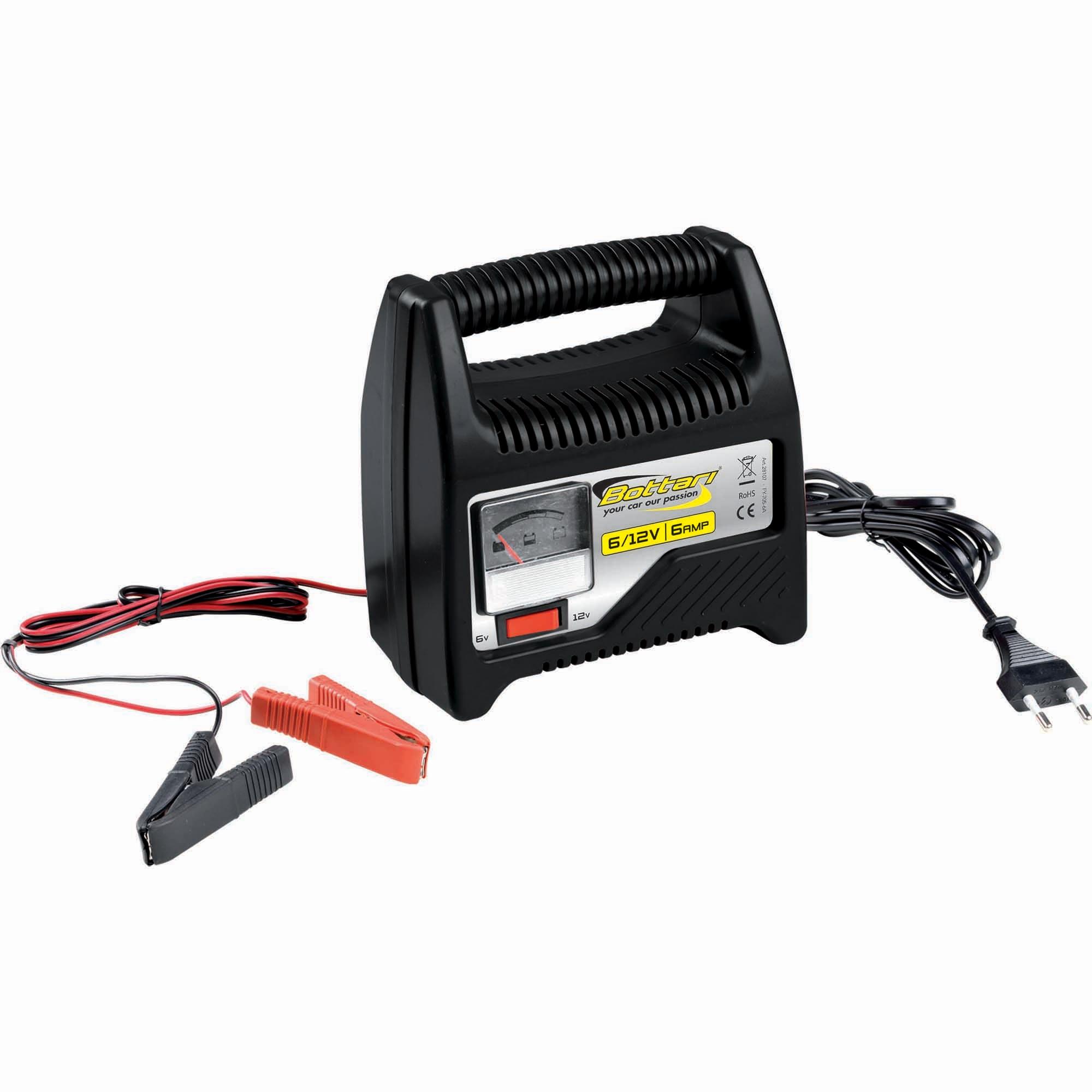 Fotografie Incarcator baterie cu ampermetru Bottari, 6A, 6V/12V