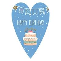 Картичка-таг Gespansterwald, Happy Birthday, синя