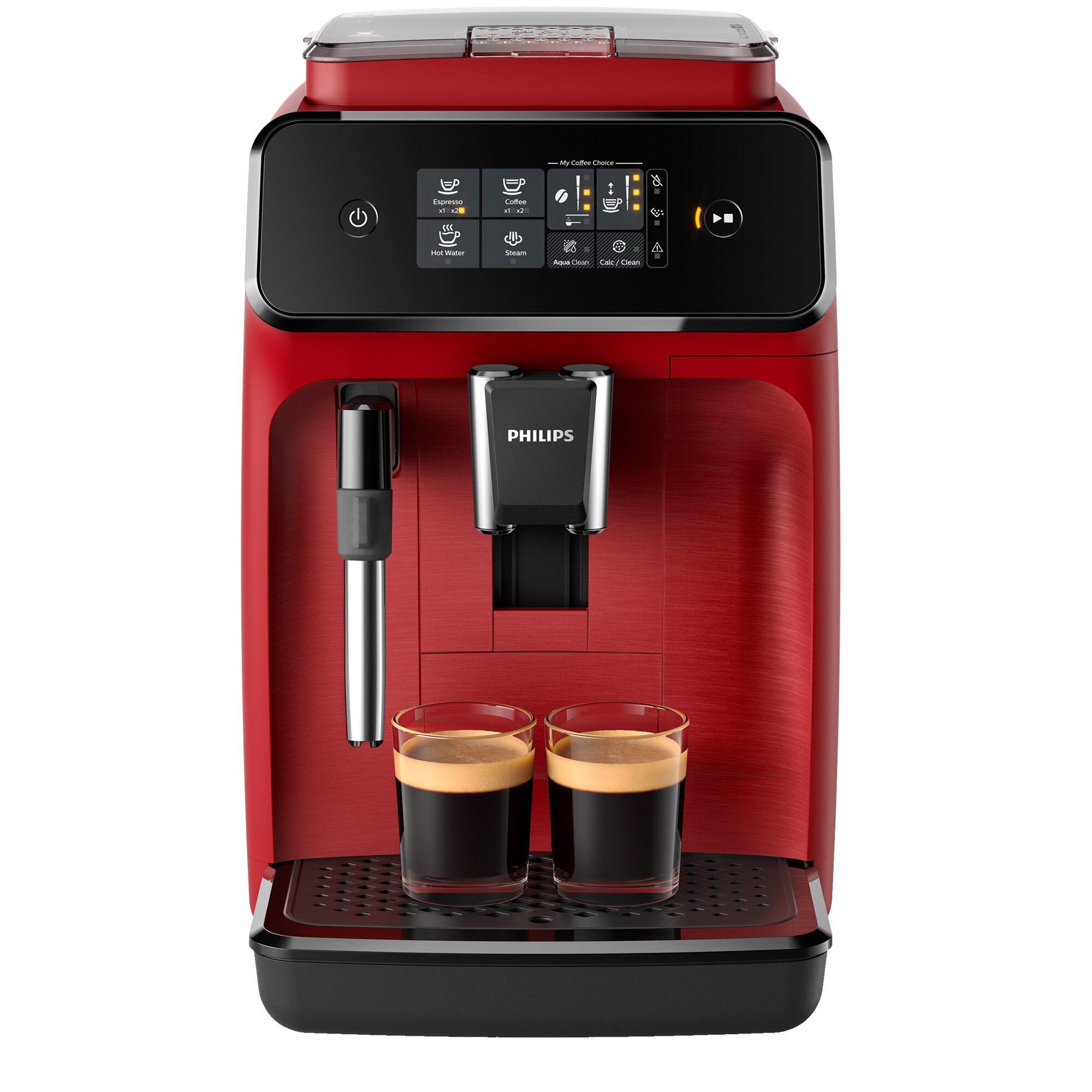Fotografie Espressor automat Philips EP1222/00 Seria 1200, sistem clasic de spumare, 2 bauturi, optiune 2 cesti, 12 setari macinare, rasnita ceramica, Rosu