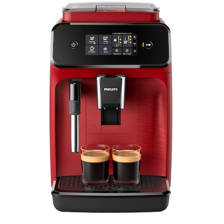 Espressor automat Philips EP1222/00 Seria 1200, sistem clasic de spumare, 2 bauturi, optiune 2 cesti, 12 setari macinare, rasnita ceramica, Rosu